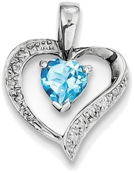 Sterling Silver Rhodium Heart Swiss Blue Topaz & Diamond Heart Pendant