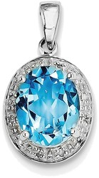 Sterling Silver Rhodium Pear Swiss Blue Topaz & Diamond Pendant