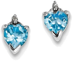 Sterling Silver Rhodium Heart Swiss Heart Blue Topaz & Diamond Post Earrings