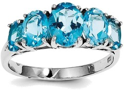 Sterling Silver Rhodium Light Swiss Blue Topaz 5 Stone Ring