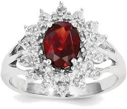 Sterling Silver Rhodium-plated Garnet & Diamond Crown Design Ring