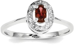 Sterling Silver Rhodium-plated Framed Oval Garnet & Diamond Ring