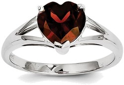 Sterling Silver Rhodium Plated Heart Shape Garnet Ring