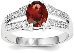 Sterling Silver Rhodium-plated Oval Garnet & Diamond Cutout Center Ring