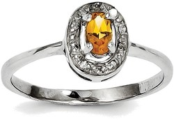Sterling Silver Rhodium Framed Oval Citrine & Diamond Ring