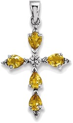 Sterling Silver Rhodium Pear Citrine Cross Pendant