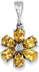 Sterling Silver Rhodium Citrine & Diamond Flower Pendant