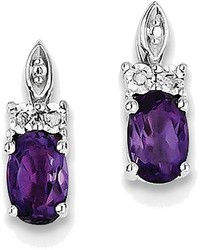 Sterling Silver Rhodium-plated Diamond & Oval Amethyst Earrings QE10161AM