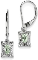 Sterling Silver Rhodium-plated Oval Green Quartz Diamond Earrings