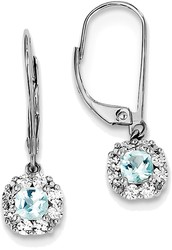 Sterling Silver Rhodium-plated Cushion Light Swiss Blue Topaz Diamond Earrings