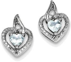 Sterling Silver Rhodium-plated Light Swiss Heart Blue Topaz Diamond Earrings