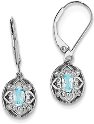 Sterling Silver Rhodium-plated Oval Light Blue Topaz Diamond Earrings QE10231BT
