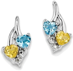 Sterling Silver Rhodium-plated Heart Blue Topaz & Citrine Diamond Earrings