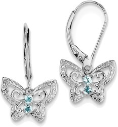 Sterling Silver Rhodium-plated Blue Topaz & Diamond Earrings QE10273BT
