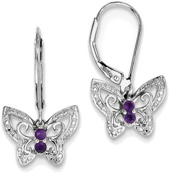 Sterling Silver Rhodium-plated Amethyst & Diamond Butterfly Earrings QE10274AM