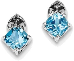 Sterling Silver Rhodium Plated Diamond Light Swiss Blue Topaz Post Earrings
