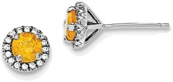 Sterling Silver Rhodium-plated Citrine & CZ Post Earrings