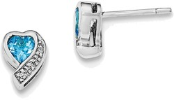 Sterling Silver Rhodium-plated Heart Blue Topaz and Diamond Earrings