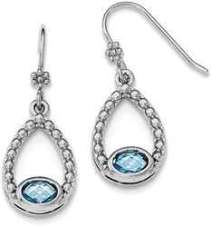 Sterling Silver Rhodium-plate Oval Light Swiss Blue Topaz Shepherd Hook Earrings