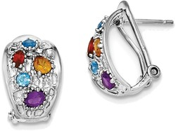 Sterling Rhodium-plated Amethyst/Blue Topaz/Garnet/Citrine Omega Back Earrings