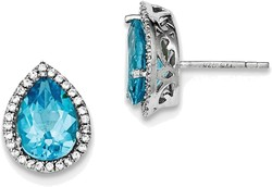 Sterling Silver Rhodium Polished Blue Topaz & CZ Post Earrings