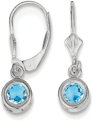 Sterling Silver Rhodium 5mm Round Blue Topaz Leverback Earrings