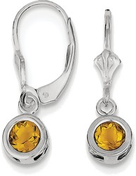 Sterling Silver Rhodium 5mm Round Citrine Leverback Earrings
