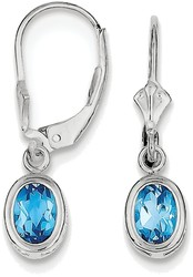 Sterling Silver Rhodium 7x5mm Oval Blue Topaz Leverback Earrings
