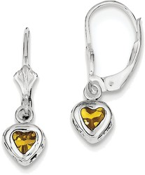 Sterling Silver Rhodium 5mm Heart Citrine Leverback Earrings