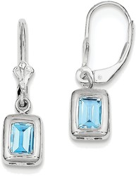 Sterling Silver Rhodium 7x5 Emerald-cut Blue Topaz Leverback Earrings