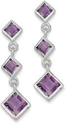 Sterling Silver Rhodium-plated Polished Amethyst Post Dangle Earrings
