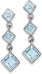 Sterling Silver Rhodium-plated Polished Blue Topaz Post Dangle Earrings