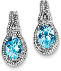 Sterling Silver Rhodium-plated Oval Blue Topaz Earrings QE9890BT
