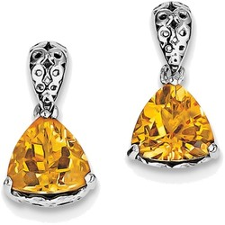 Sterling Silver Rhodium-plated Citrine Trillion Earrings