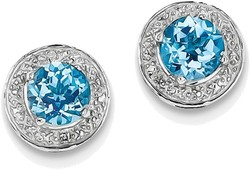 Sterling Silver Rhodium Plated Diamond & Light Swiss Blue Topaz Post Earrings