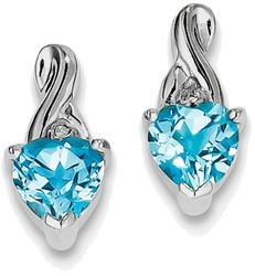 Sterling Silver Rhodium Plated Diamond & Light Swiss Heart Blue Topaz Earrings