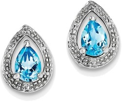 Sterling Silver Rhodium Plated Diamond Pear Blue Topaz Post Earrings