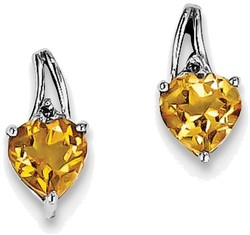 Sterling Silver Rhodium Plated Diamond Citrine Heart Post Earrings
