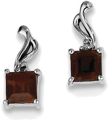 Sterling Silver Rhodium Plated Diamond Garnet Square Post Earrings