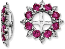 Sterling Silver Rhodium Diamond & Created Ruby Earring Jackets QJ119JUL