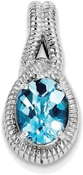 Sterling Silver Rhodium-plated Blue Topaz Pendant QP2940BT