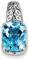 Sterling Silver Rhodium-plated Blue Topaz Pendant QP2947BT