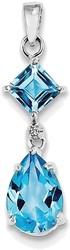 Sterling Silver Rhodium Plated Diamond & Light Swiss Blue Topaz Pendant QP2956BT