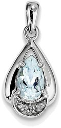 Sterling Silver Rhodium Plated Diamond and Aquamarine Pendant