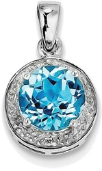 Sterling Silver Rhodium Plated Diamond & Light Swiss Blue Topaz Pendant QP2960BT