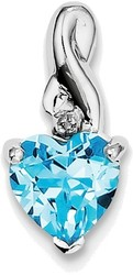 Sterling Silver Rhodium Plated Diamond & Light Swiss Blue Topaz Heart Pendant
