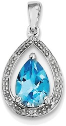 Sterling Silver Rhodium Plated Diamond and Swiss Blue Topaz Pendant