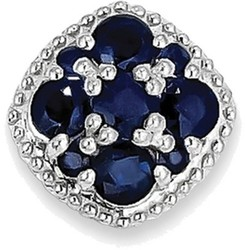 Sterling Silver Rhodium Plated Sapphire Square Pendant Slide Pendant
