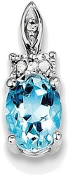 Sterling Silver Rhodium-plated Diamond & Light Blue Topaz Pendant QP3071BT