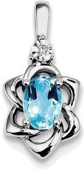 Sterling Silver Rhodium-plated Diamond & Light Blue Topaz Pendant QP3079BT